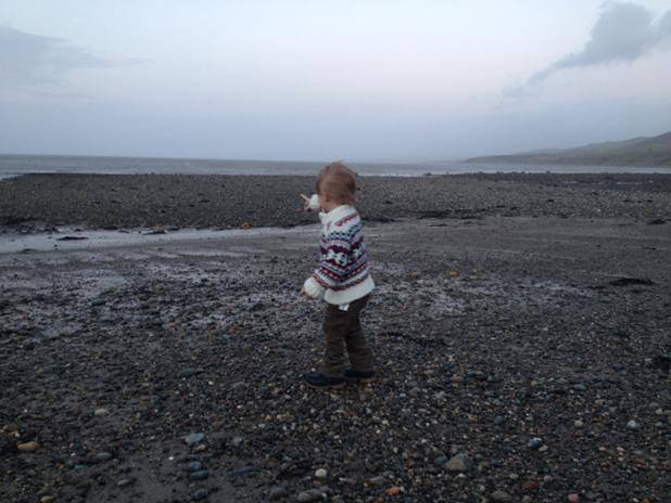 Toddler on the Beach Pointing at the Sea
